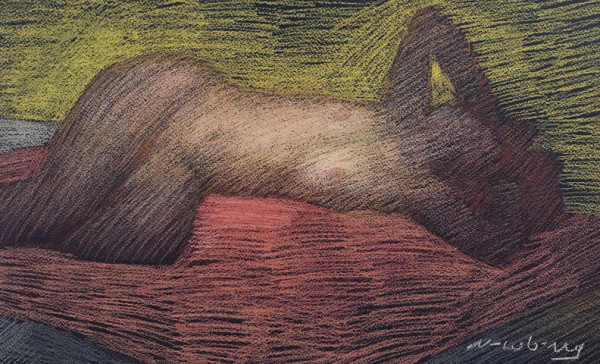 Nude Reclining with Yellow Background