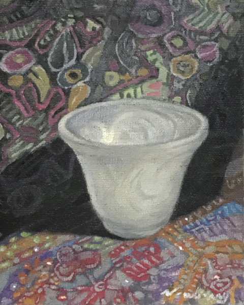 Newberry, Frosted Glass Bowl, 2017, oil on linen, 10x8""