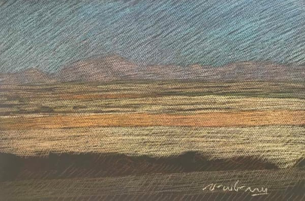 Newberry, Texas Fields in Gold, Mauve, and Dusty Blue, pastel