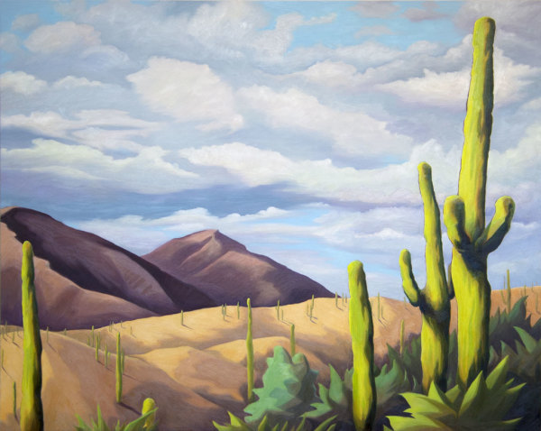 Saguaros with Gold Hills