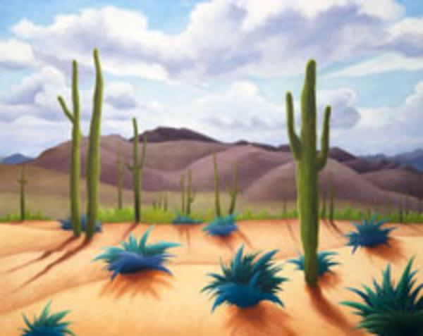 Saguaros with Sun & Clouds