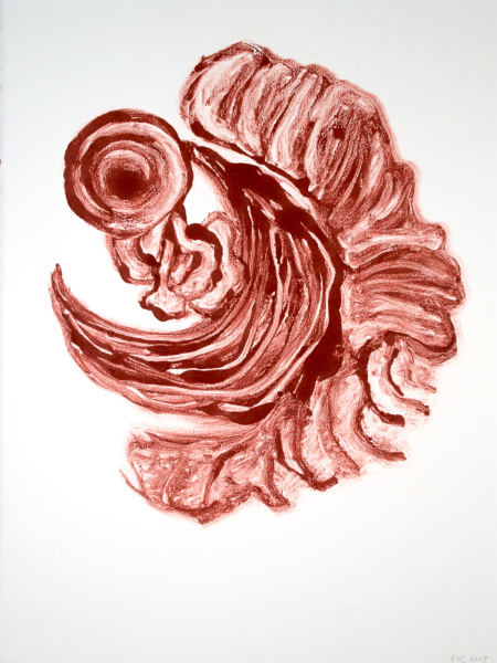 Monotype in Burnt Sienna and Crimson Red, 31.Dec.2017