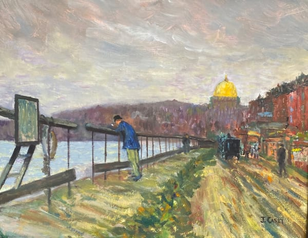 """Interpretation of Childe Hassam's, """"Charles River and Beacon Hill"""""""