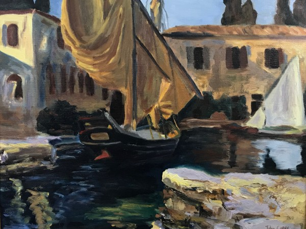 Copy of John Singer Sargent's San Vigilio A Boat with Golden Sail Painting