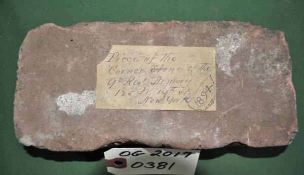 Piece of the Cornerstone of the 9th Reg. Armory 125 West 14th St. NYC 1894