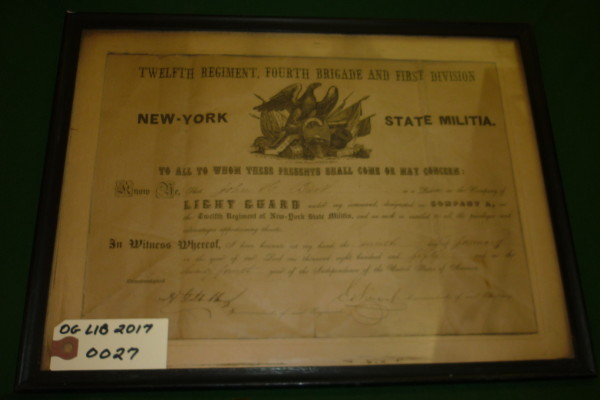 Private John A Burke Light Guard Enlistment Cetrtificate