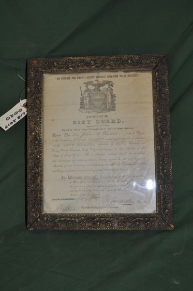 Private John A Condit Enlistment Certificate into The City Guard