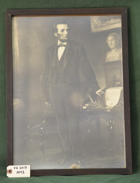 Full-body Portrait of Abraham Lincoln with Bust of George Washington