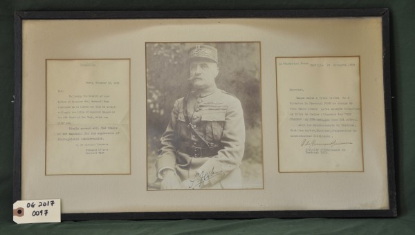Portrait and Letters of Acceptance (English and French) Sent on Behalf of Marshall Foch