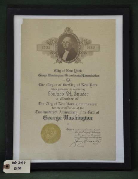 Certificate Appointing Edward H. Snyder as a Member of The City of New York Commission
