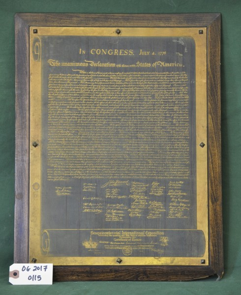 Metal Replica of the Declaration of Independence Presented to Edward Havemeyer Snyder