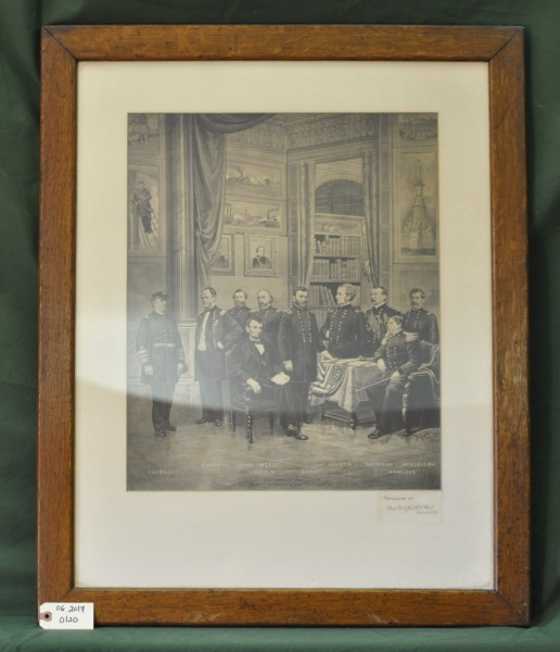 Print of Lincoln with High Ranking Officers of Union Army and Navy