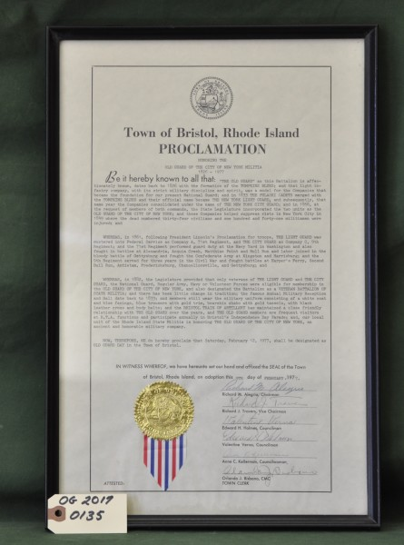 Proclamation from the Town of Bristol, Rhode Island Honoring the Old Guard