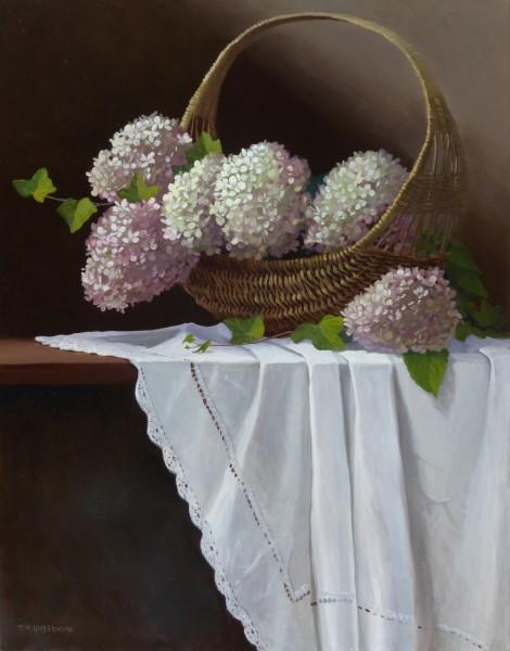 Basket of Hydrangeas & Ivy