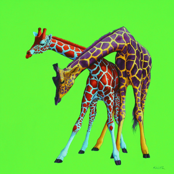 TWO GIRAFFES ON GREEN, 2001