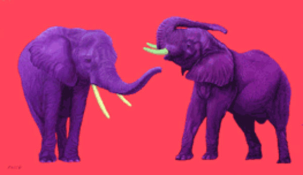 TWO ELEPHANTS ON RED, 2002