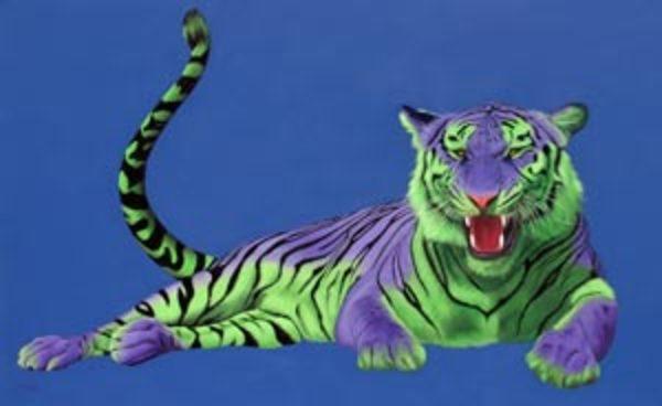 GREEN & PURPLE TIGER ON BLUE, 2004