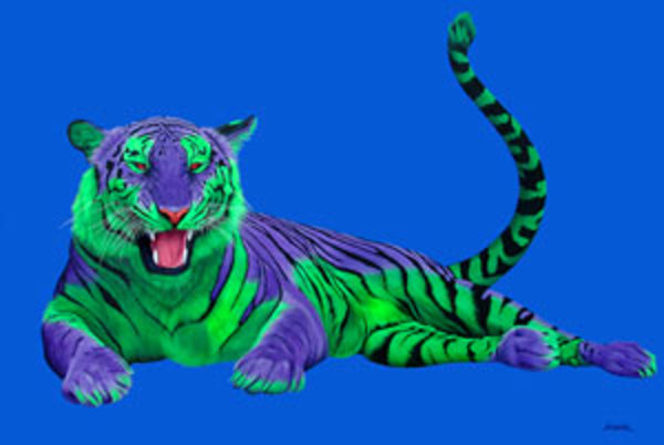 PURPLE & GREEN TIGER ON BLUE, 2004