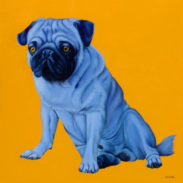 BLUE PUG ON ORANGE, 2005