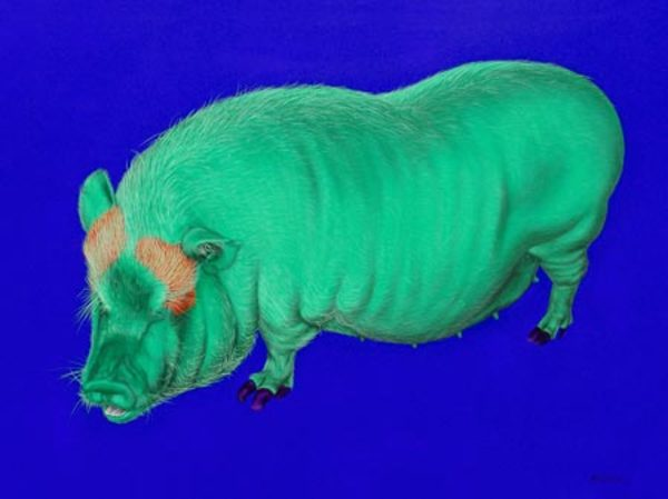 GREEN PIG ON BLUE, 2005