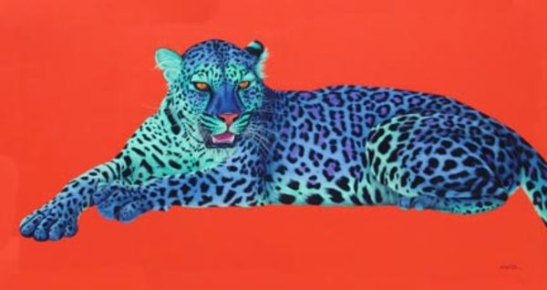 GREEN & PURPLE LEOPARD ON ORANGE, 2005