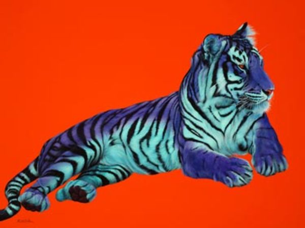 PURPLE TIGER ON ORANGE, 2005