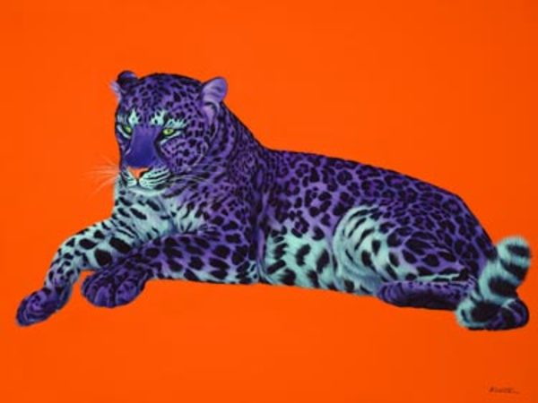 PURPLE LEOPARD ON ORANGE, 2005