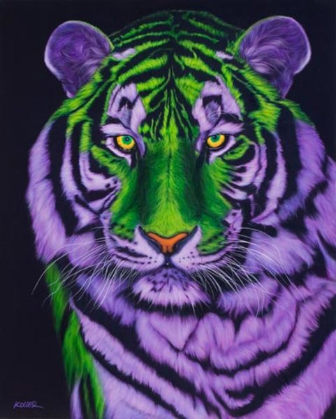 TIGER HEAD IN GREEN & PURPLE, 2007