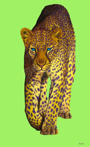 LEOPARD ON GREEN, 2008