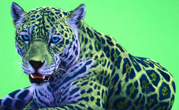 GREEN JAGUAR ON GREEN, 2008