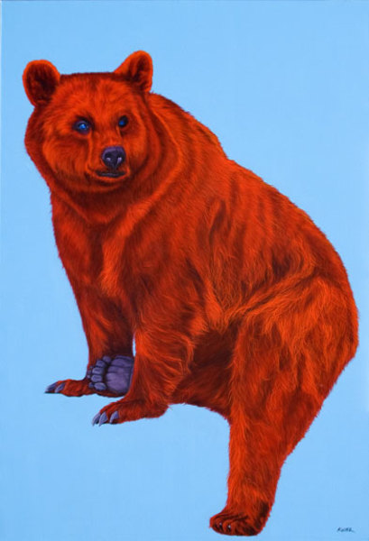RED BEAR ON LIGHT BLUE, 2009