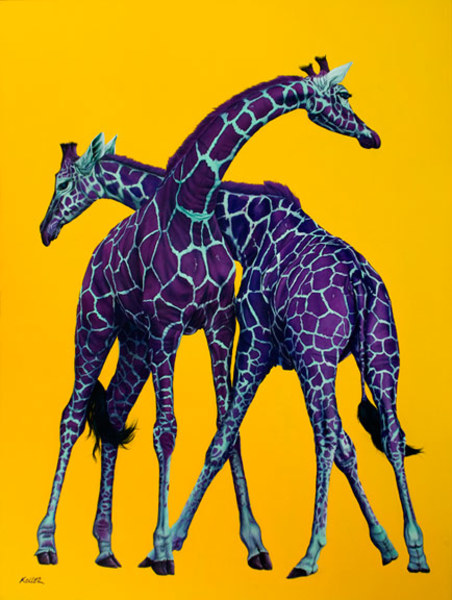 TWO GIRAFFES ON YELLOW, 2009