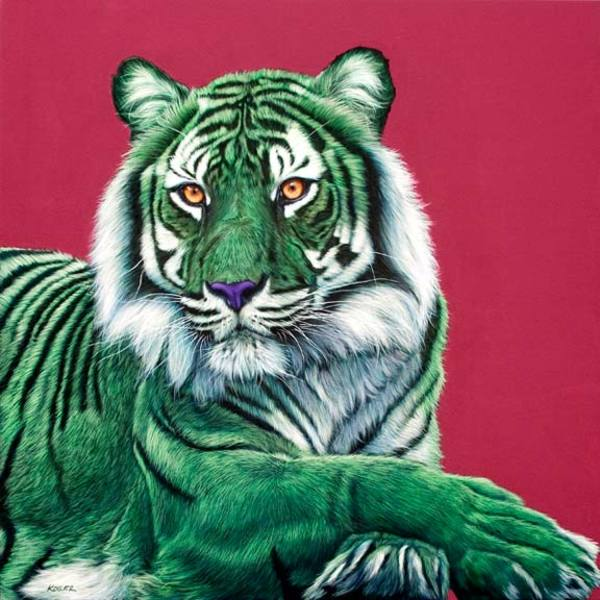 GREEN TIGER ON RED, 2009