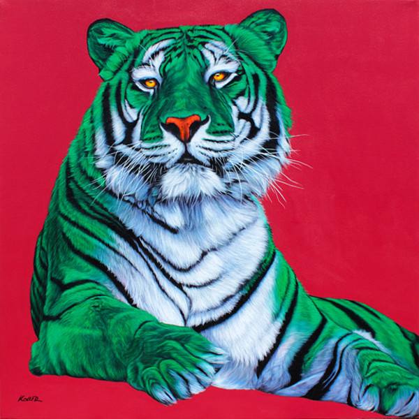GREEN & WHITE TIGER ON RED, 2011