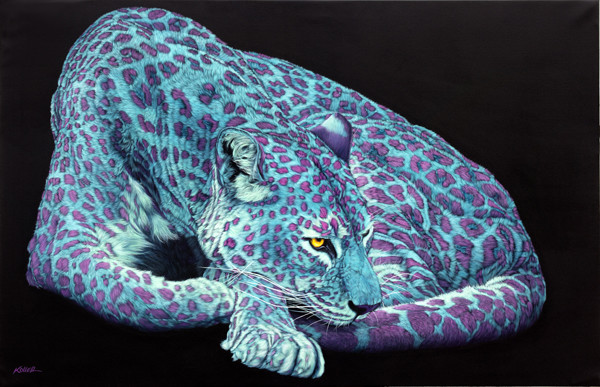 LIGHT BLUE LEOPARD WITH PINK SPOTS, 2012