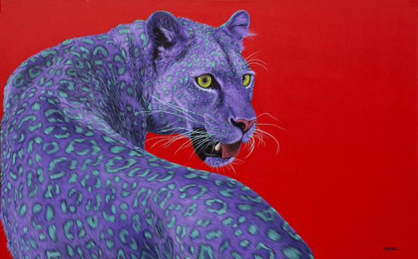 PURPLE LEOPARD ON RED, 2013