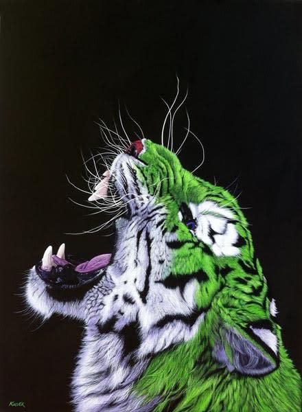 GREEN TIGER ON BLACK, 2013