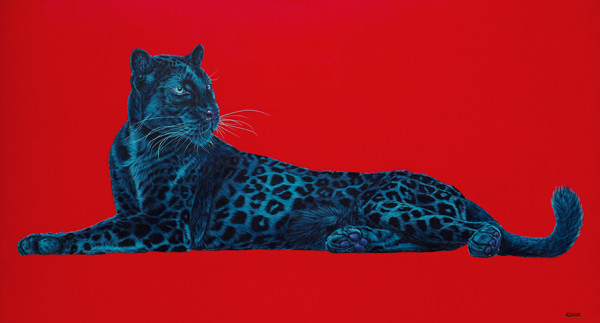 BLACK LEOPARD ON RED, 2013