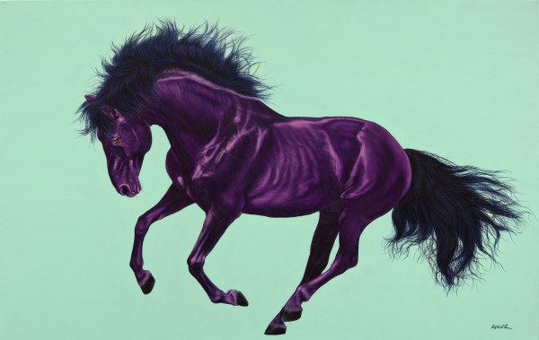 VIOLET HORSE ON AQUAMARINE, 2013