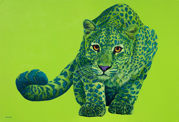 GREEN LEOPARD ON GREEN, 2013