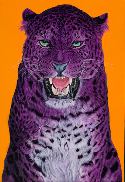 LEOPARD ON ORANGE (Head), 2014