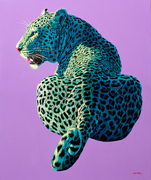 LEOPARD ON LIGHT PURPLE, 2014
