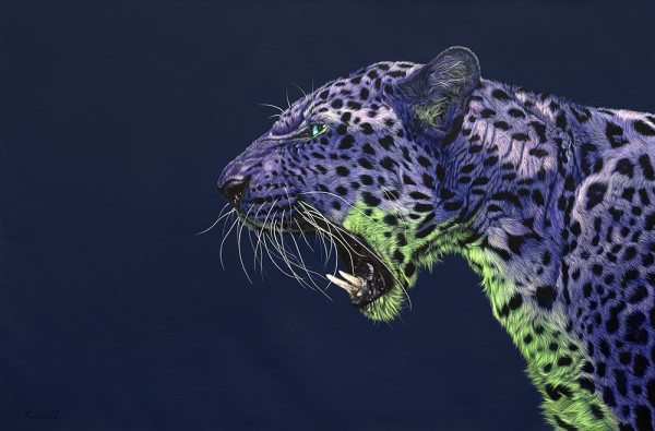 PURPLE LEOPARD ON DARK BLUE, 2015