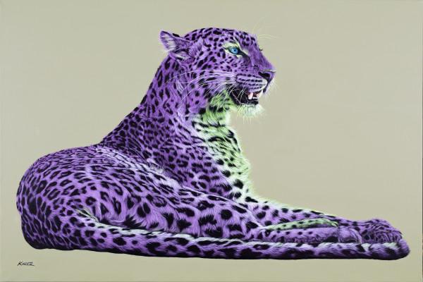 LEOPARD IN MAGENTA & GREEN, 2016