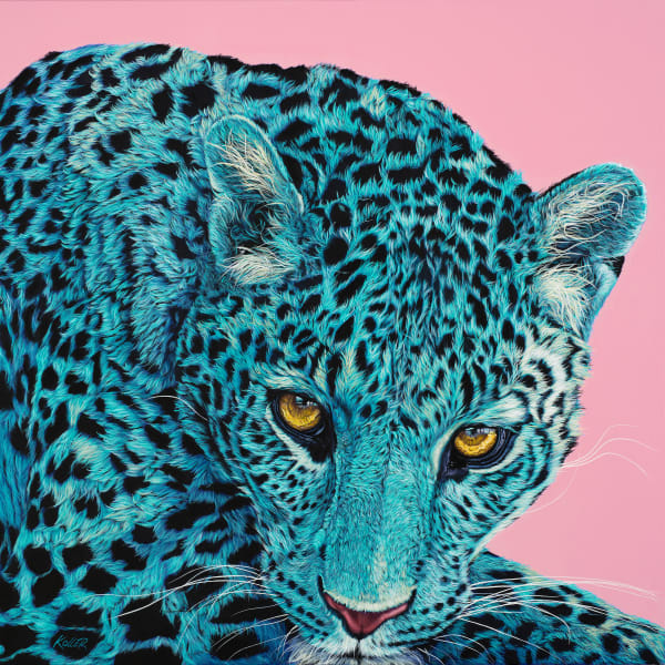LEOPARD HEAD ON PINK, 2019