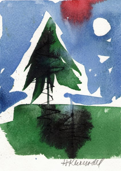Lone Pine II and original watercolor and ink