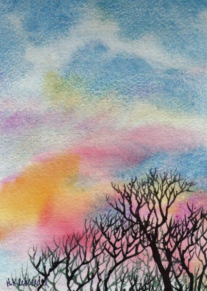 Look Up II and original watercolor