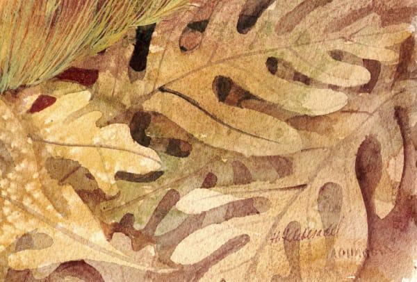 Oak Leaves V and original watercolor