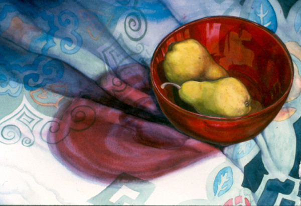 Red Bowl and Pears