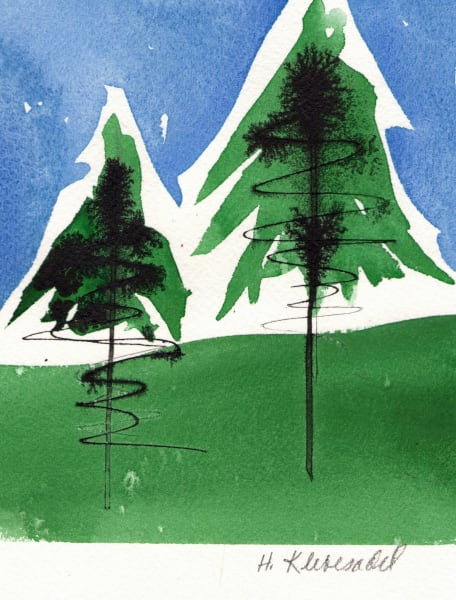 Two Pines an original watercolor and ink